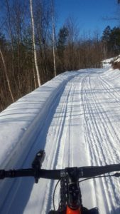 Winter Shared Use Groomed Trail: Fat Bikes and Snowmobiles in Cable, WI